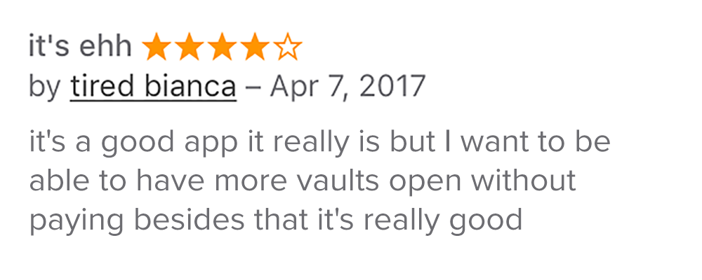 Screenshot of App Store review